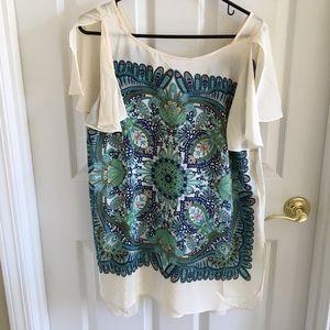 Anthropologie Maeve silk tunic shirt size medium